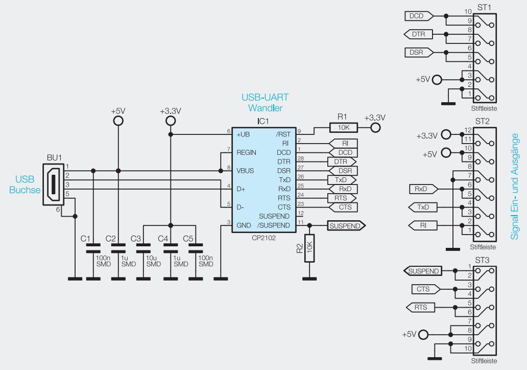 Pinbelegung Mini-USB-Modul UM2102