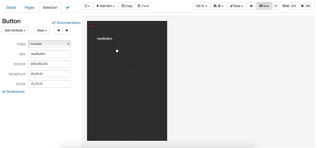 NetIO - In der Design Oberfläche platzierter Button
